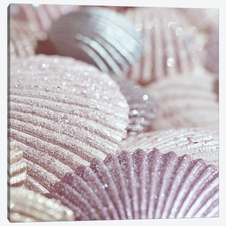 Shells And Glitter II Pink Square Canvas Print #GEL270} by Monika Strigel Canvas Art