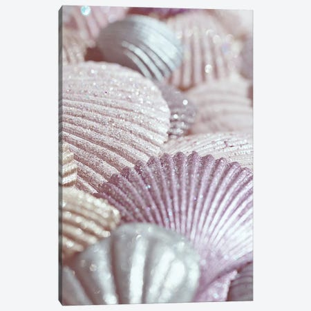 Shells And Glitter II Pink Canvas Print #GEL271} by Monika Strigel Canvas Artwork