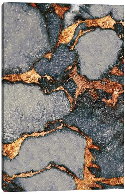 Gemstone And Gold - Grey Canvas Art Print