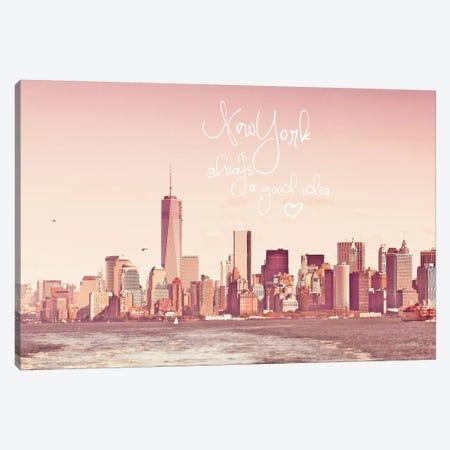 New York Skyline In Rose 3-Piece Canvas #GEL54} by Monika Strigel Canvas Print