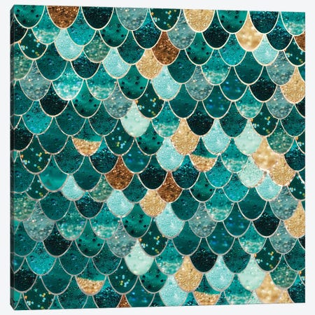 Really Mermaid _  Emerald And Gold Canvas Print #GEL57} by Monika Strigel Art Print