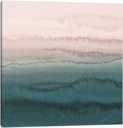Within The Tide - Blush Meets Teal Canvas Art Print