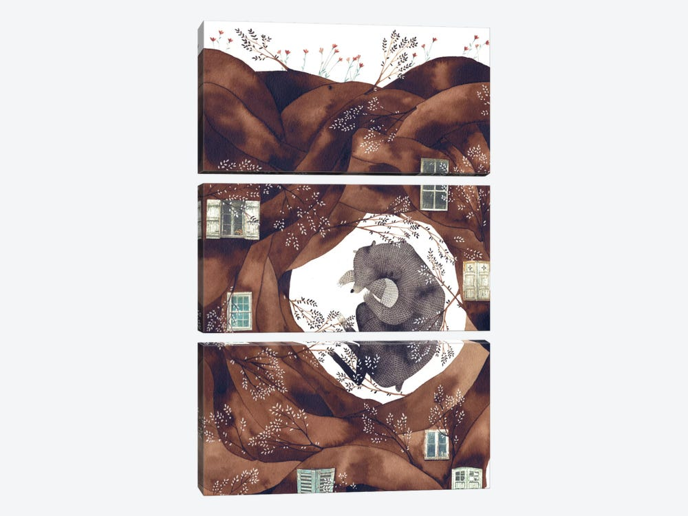 Forest Bear by Gemma Capdevila 3-piece Canvas Print