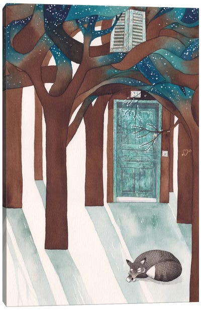 Fox On The Porch Canvas Art Print