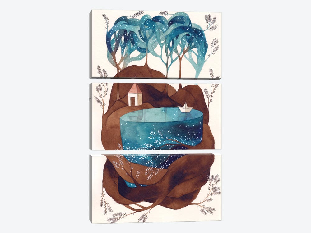 Island I by Gemma Capdevila 3-piece Canvas Print