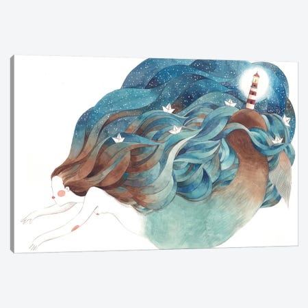 Light House Mermaid Canvas Print #GEM21} by Gemma Capdevila Canvas Art