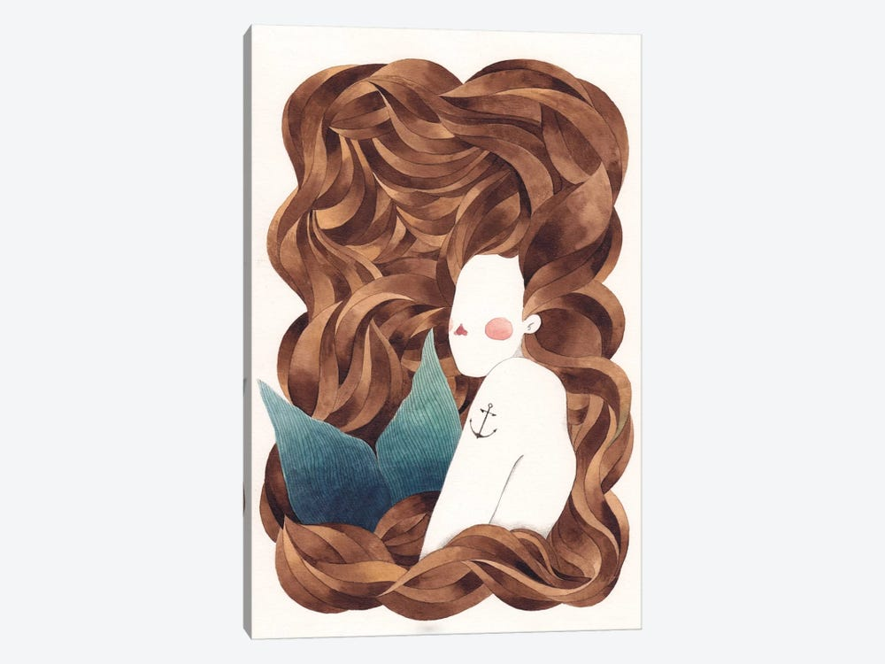 Mermaid by Gemma Capdevila 1-piece Canvas Wall Art