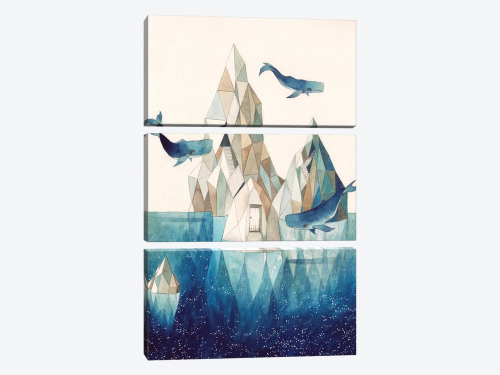 Whale Iceberg by Gemma Capdevila 3-piece Canvas Artwork