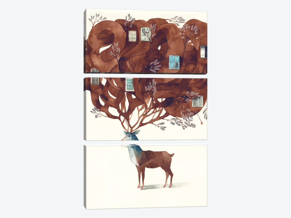 Deer by Gemma Capdevila 3-piece Canvas Wall Art