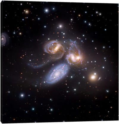 Stephan's Quintet, Compact Galactic Group In Pegasus Composite Image Canvas Art Print