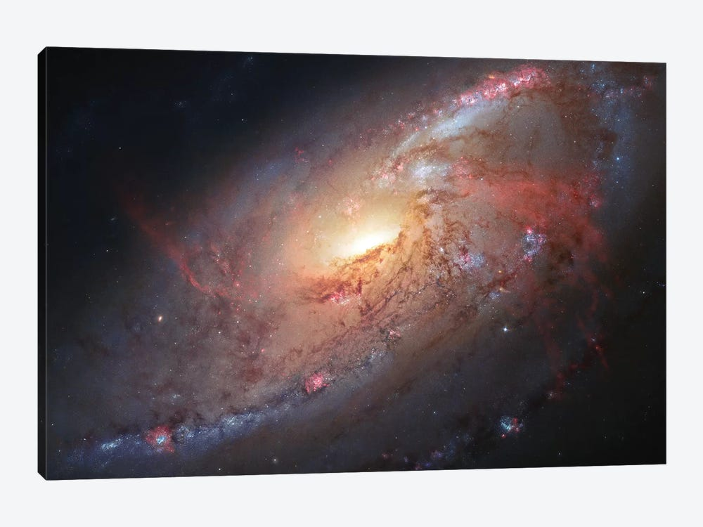 M106, Spiral Galaxy In Canes Venatici II 1-piece Canvas Art Print