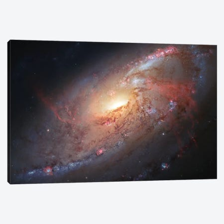 M106, Spiral Galaxy In Canes Venatici II 3-Piece Canvas #GEN38} by Robert Gendler Canvas Artwork