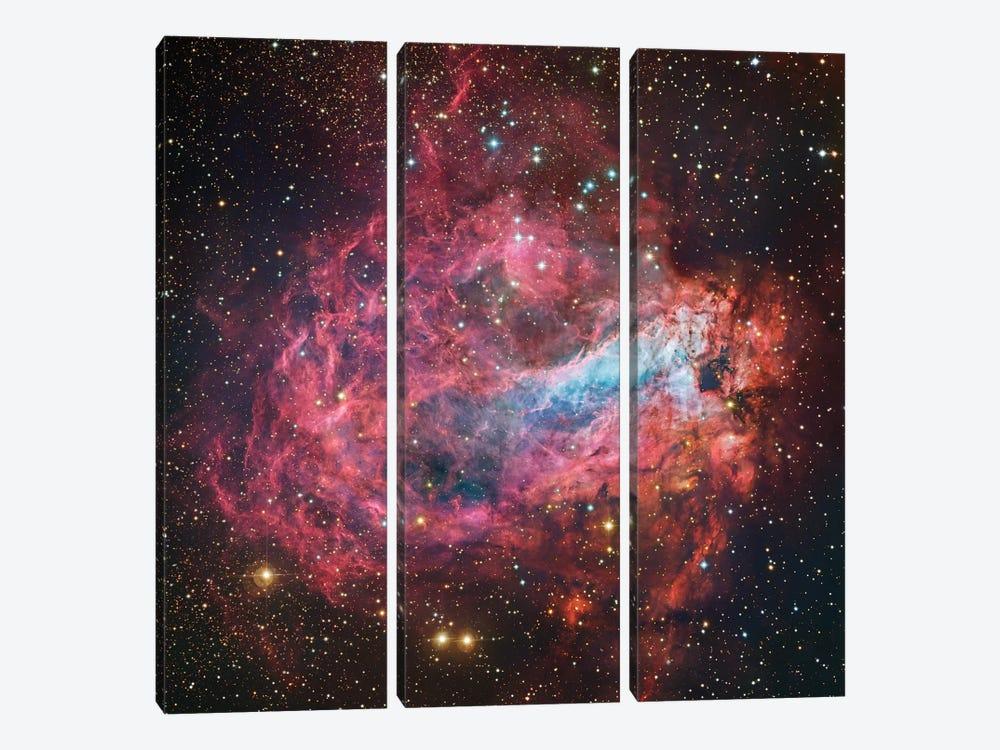 M17, Swan, Omega, Horseshoe, Lobster Nebula (NGC 6618) by Robert Gendler 3-piece Canvas Wall Art