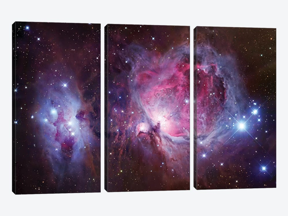 M42, The Great Nebula In Orion Mosaic by Robert Gendler 3-piece Canvas Print