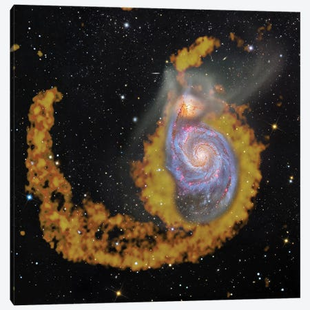 M51, The Whirlpool Galaxy Composite Radio Wave & Visible Light Image Canvas Print #GEN60} by Robert Gendler Canvas Art Print