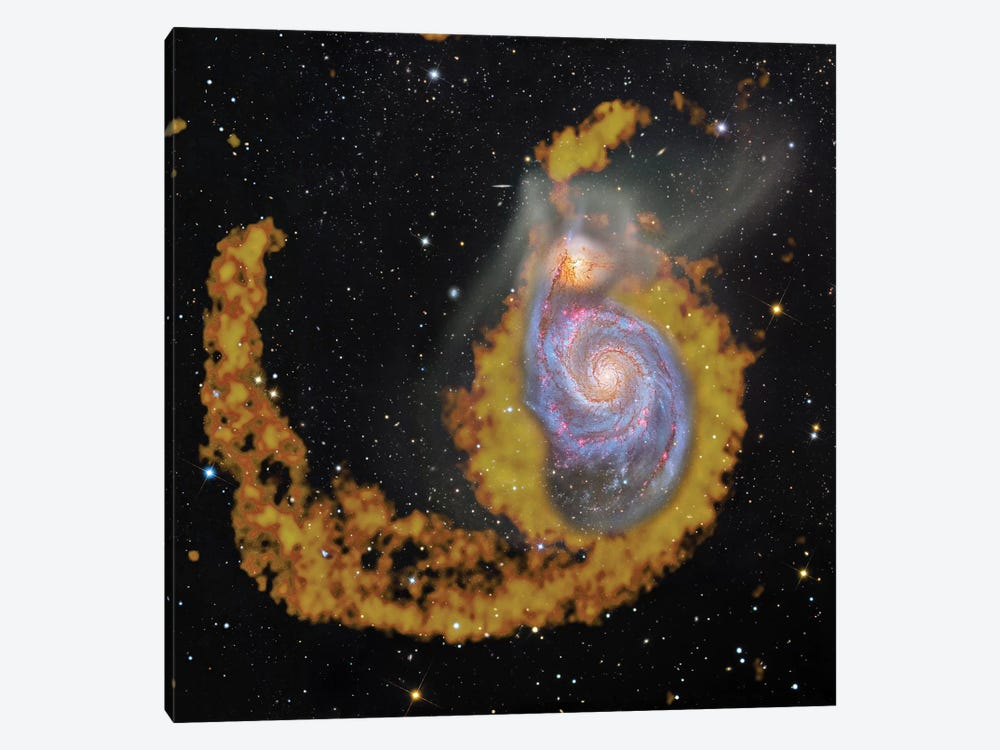 M51, The Whirlpool Galaxy Composite Radio Wave & Visible Light Image by Robert Gendler 1-piece Canvas Art