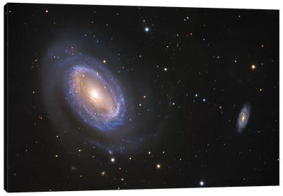 Spiral Galaxies In Coma Berenices (NGC 4725) Canvas Art Print