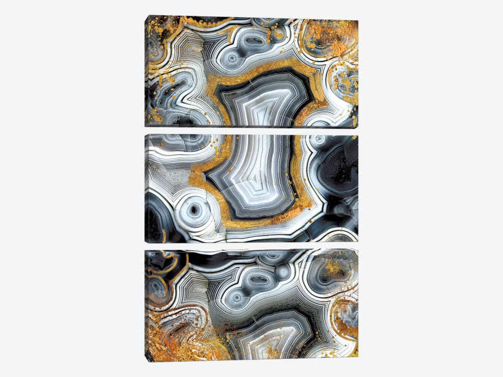 Geode Onyx by 5by5collective 3-piece Canvas Art Print