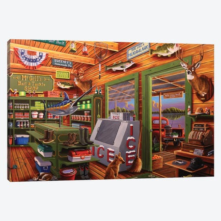 McGill's Bait and Tackle Canvas Print #GEP107} by Geno Peoples Canvas Wall Art