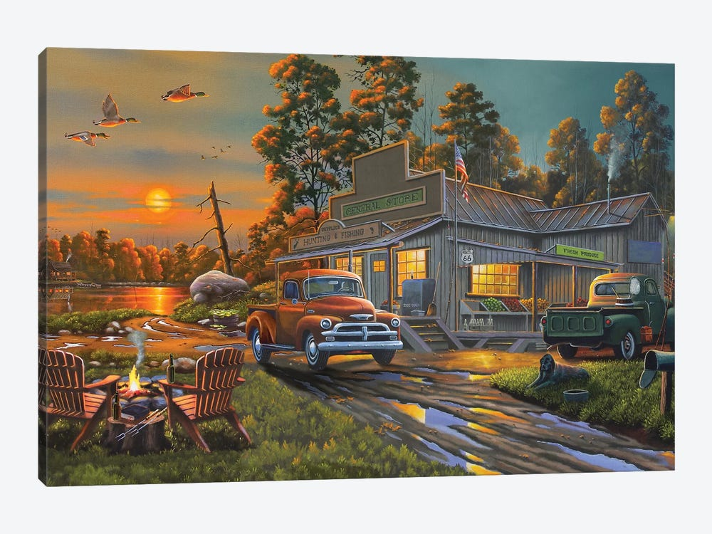 On the Lake General Store by Geno Peoples 1-piece Canvas Art