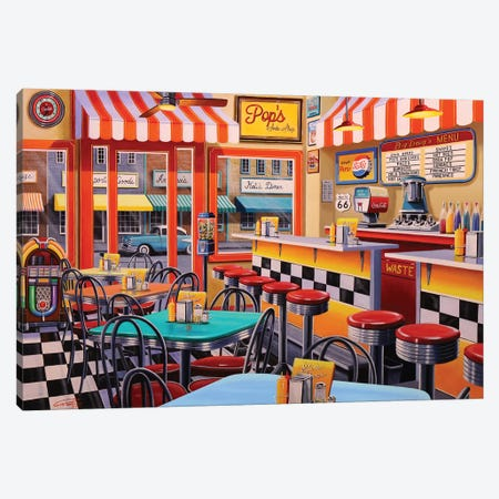 Peter's Malt Shop Canvas Print #GEP128} by Geno Peoples Art Print