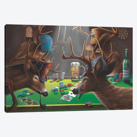 Playing For Doe Canvas Print #GEP130} by Geno Peoples Canvas Wall Art