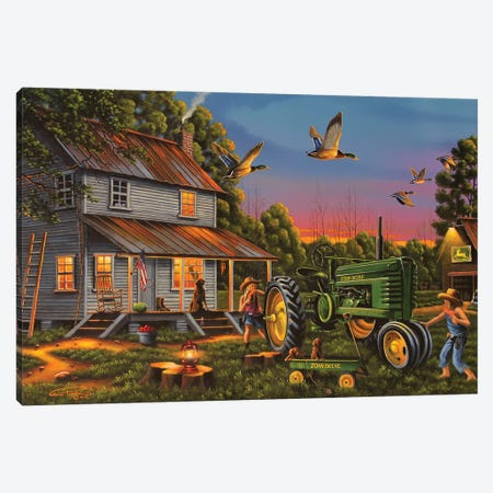 Playtime On The Farm Canvas Print #GEP131} by Geno Peoples Canvas Artwork