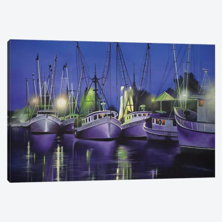Purple Boats 3-Piece Canvas #GEP132} by Geno Peoples Canvas Art