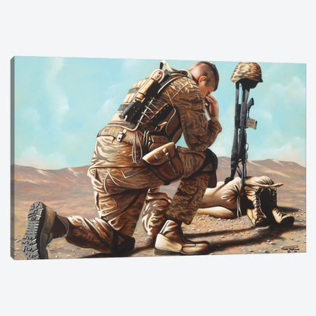 Soldier's Cross Canvas Print #GEP156} by Geno Peoples Canvas Print