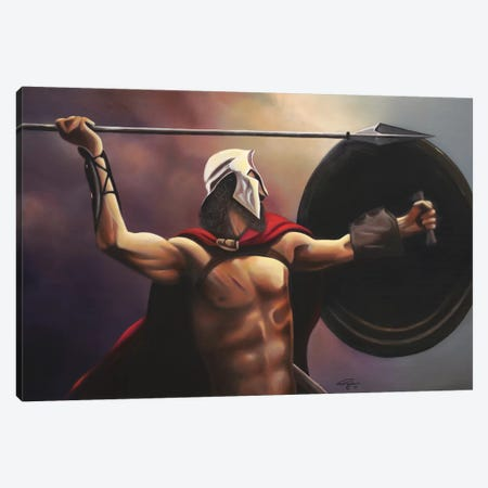 Spartan Warrior Canvas Print #GEP157} by Geno Peoples Canvas Art Print