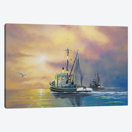 Work On The Water Canvas Print #GEP194} by Geno Peoples Canvas Art Print