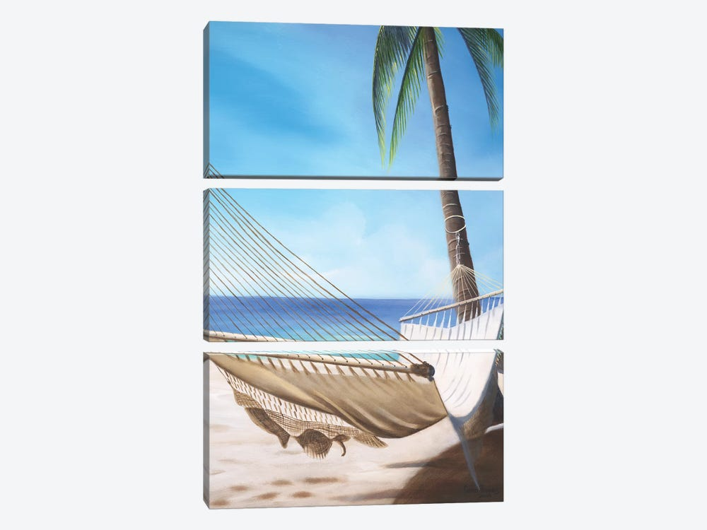 Beach Hammock by Geno Peoples 3-piece Canvas Print