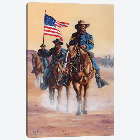 Buffalo Soldiers Canvas Print #GEP30} by Geno Peoples Canvas Wall Art