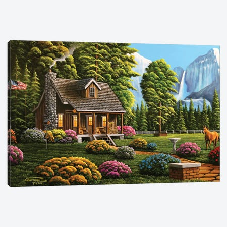 Cabin Life Canvas Print #GEP32} by Geno Peoples Canvas Artwork