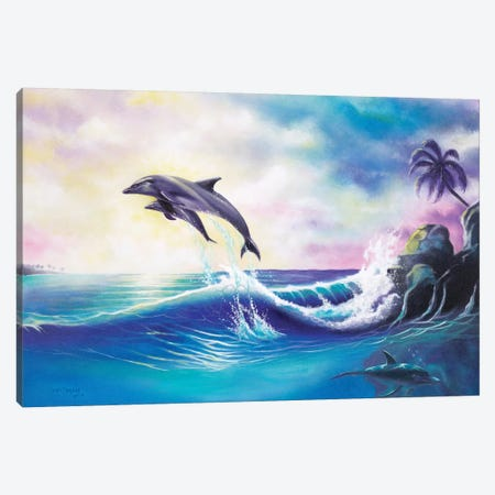 Dolphins Canvas Print #GEP54} by Geno Peoples Art Print