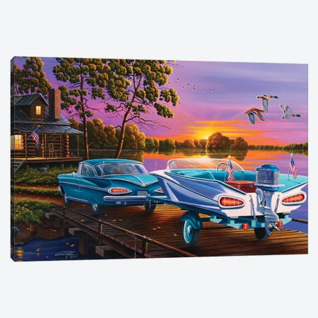 Gone Fishin Canvas Print #GEP73} by Geno Peoples Canvas Artwork
