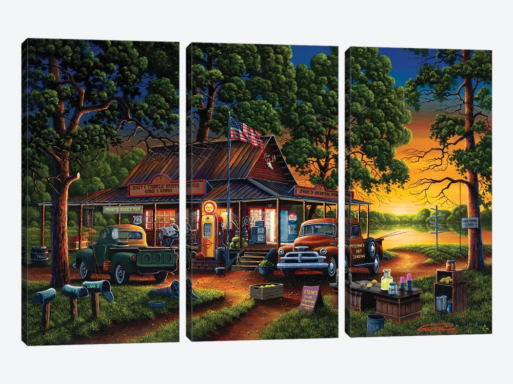 Jose's Country Store by Geno Peoples 3-piece Canvas Print