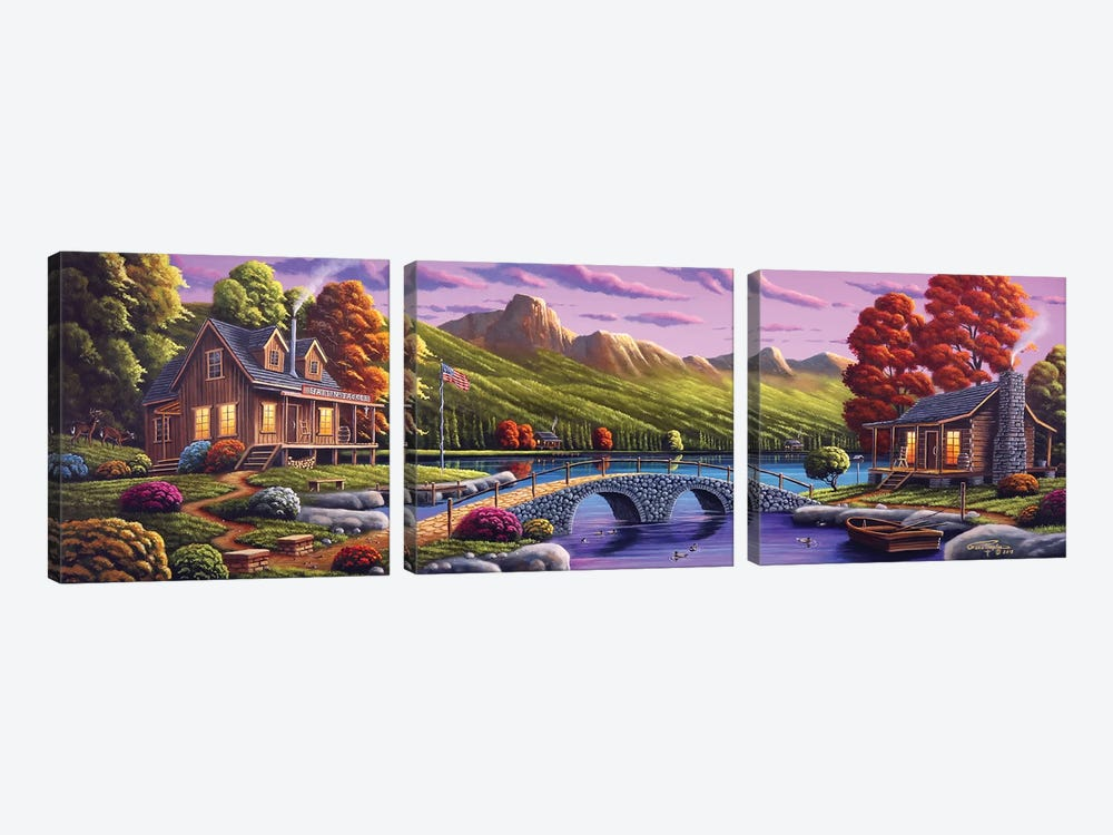 Lakeside Paradise by Geno Peoples 3-piece Canvas Print