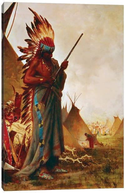 Native American And Rifle Canvas Art Print