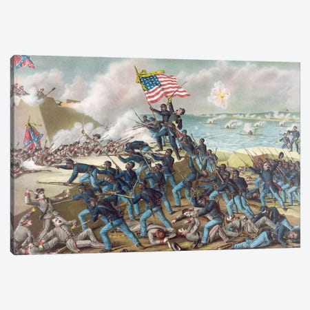 Battle Of Fort Wagner, 1863 Canvas Print #GER109} by Kurz & Allison Canvas Art