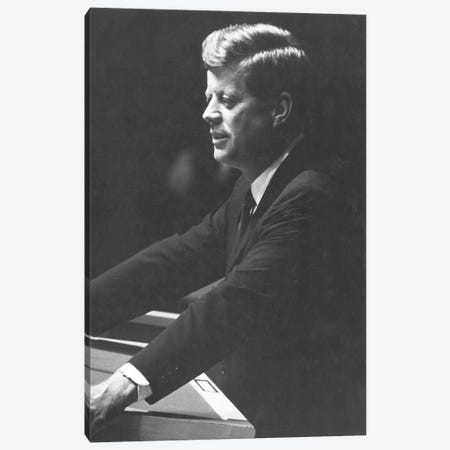 John F Kennedy 3-Piece Canvas #GER278} by Unknown Canvas Wall Art