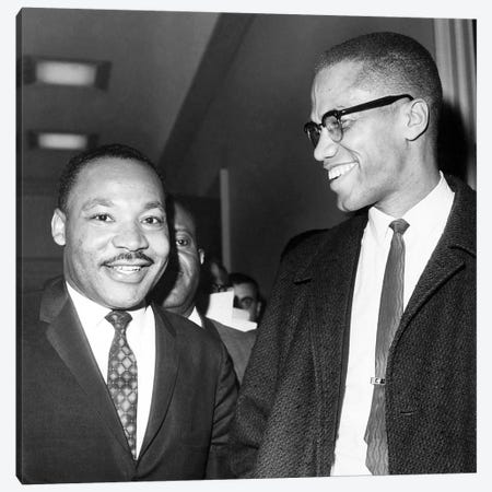King And Malcolm X, 1964 Canvas Print #GER290} by Unknown Canvas Artwork