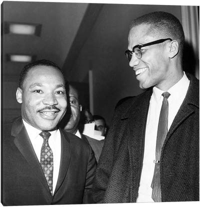 King And Malcolm X, 1964 Canvas Art Print