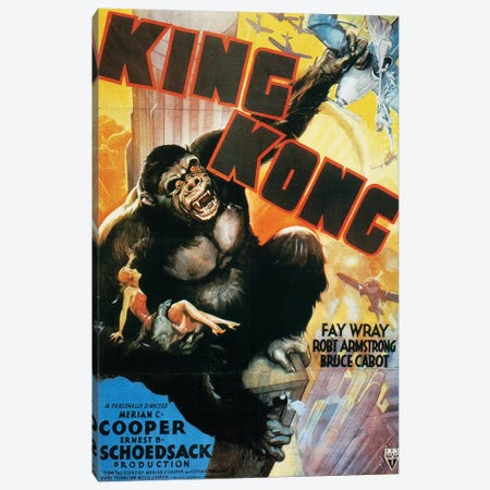 King Kong Poster, 1933 Canvas Print #GER291} by Unknown Canvas Wall Art