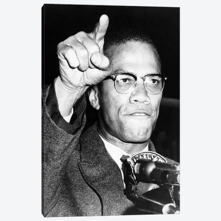 Malcolm X (1925-1965) Canvas Print #GER301} by Unknown Canvas Art