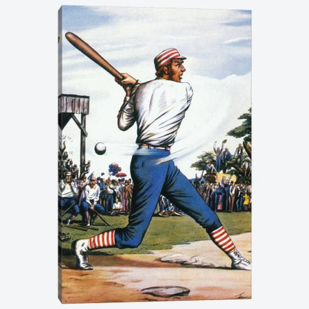 Casey At The Bat, 1888 3-Piece Canvas #GER34} by Edward Wilson Canvas Art Print