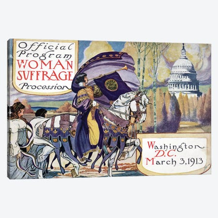 Suffragette Parade, 1913 Canvas Print #GER359} by Unknown Canvas Art Print