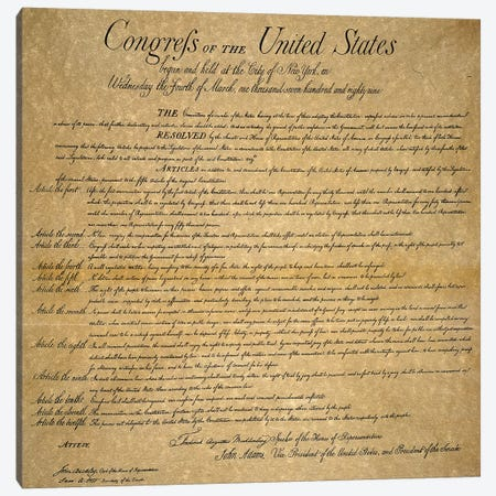 The Bill Of Rights, 1789 Canvas Print #GER369} by Unknown Canvas Wall Art