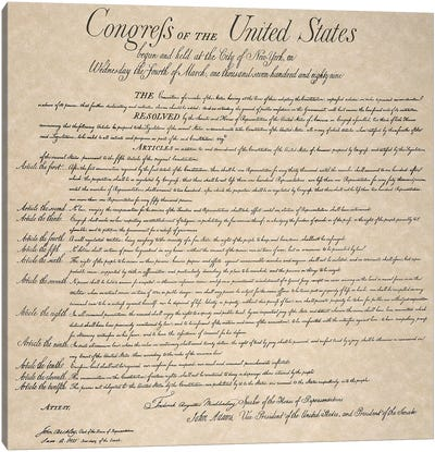 The Bill Of Rights, 1789 Canvas Art Print