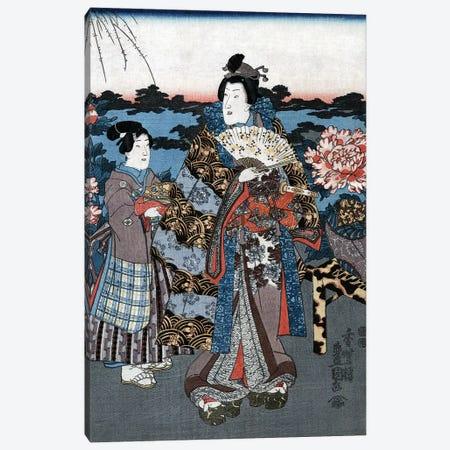 Japan: Woman In Garden Canvas Print #GER396} by Utagawa Kunisada II Canvas Art